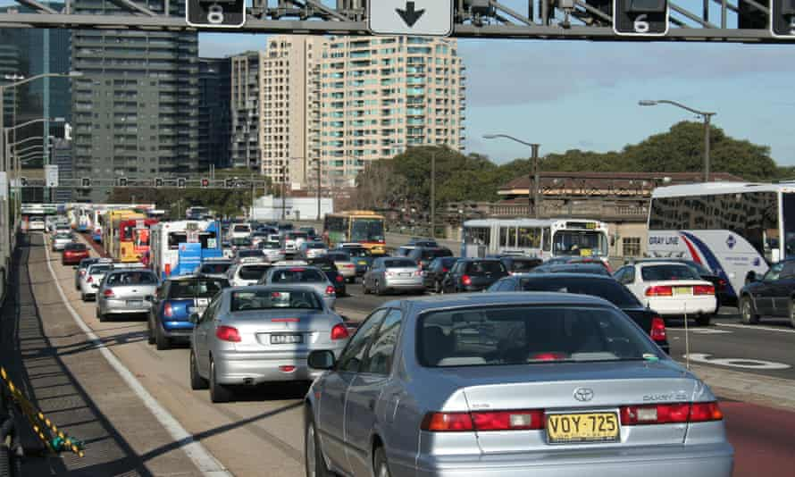 Traffic congestion on the Bradfield Highway as cars drive off the Sydney Harbour Bridge