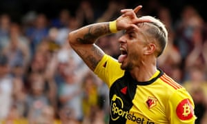 Roberto Pereyra celebrates scoring the penalty that made it 2-2 and earned Watford a point at home to Arsenal.