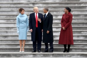 Trump and his wife Melania with Barack and Michelle Obama at the inauguration in January 2017.