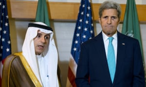Saudi Arabia's foreign minister Adel Al-Jubeir with John Kerry