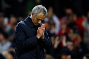 Manchester United manager José Mourinho reacts after the final whistle.