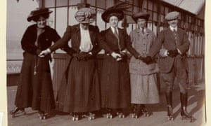 Agatha Christie (centre) roller-skating on Torquay pier with the Lucy family c1911.