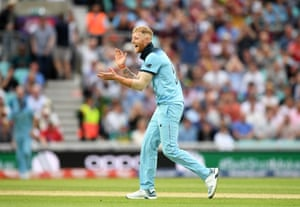 Stokes celebrates England's win after taking the final wicket of Tahir.