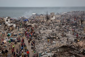 Freetown, Sierra LeoneThe remains of Susan's bay slum after it was destroyed by a fire. As many as 5,000 people have been left homeless