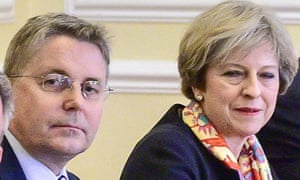Jeremy Heywood with May at a Cabinet meeting, January 2017.