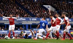 Phil Jagielka of Everton scores the opener.