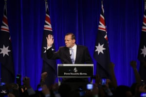 7 September 2013: the new prime minister Tony Abbott delivers his victory speech in Sydney. His Liberal-National coalition consigned the Rudd-Gillard-Rudd Labor party government to history as the shortest federal government in almost 40 years. His key themes during the campaign were to abolish carbon and mining taxes and to 'Stop the boats'. On the eve of the election he also made an on-camera pledge: 'No cuts to education, no cuts to health, no change to pensions, no change to the GST and no cuts to the ABC or SBS.' Some of these promises would come back to haunt him.