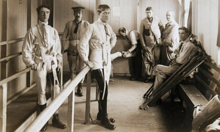Soldiers wearing artificial legs, circa 1915-18. About 240,000 British soldiers lost limbs during the first world war.