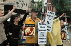 Pro life campaigners at a pro choice abortion rally in Brisbane in 2010.