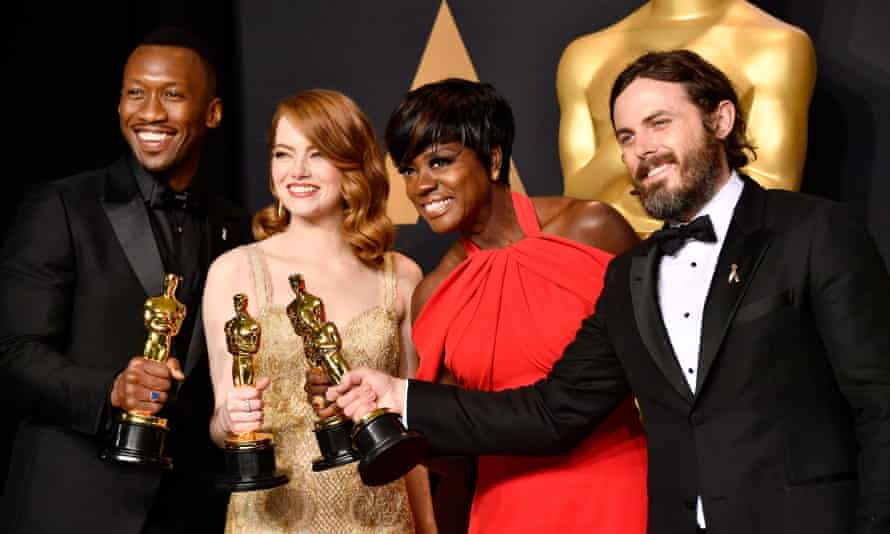 Mahershala Ali, winner of best supporting actor for Moonlight, Emma Stone, winner of best actress for La La Land, Viola Davis, winner of the best supporting actress award for Fences, and Casey Affleck, winner of Best Actor for Manchester by the Sea.