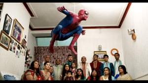 This is a still from Patel's 2015 film The Jump, which puts the world of Hollywood action and superhero films into Patel's grandma's house. The Jump features 17 of Patel's family members and 'the first sofa I ever jumped off pretending to be Spiderman as a kid'.