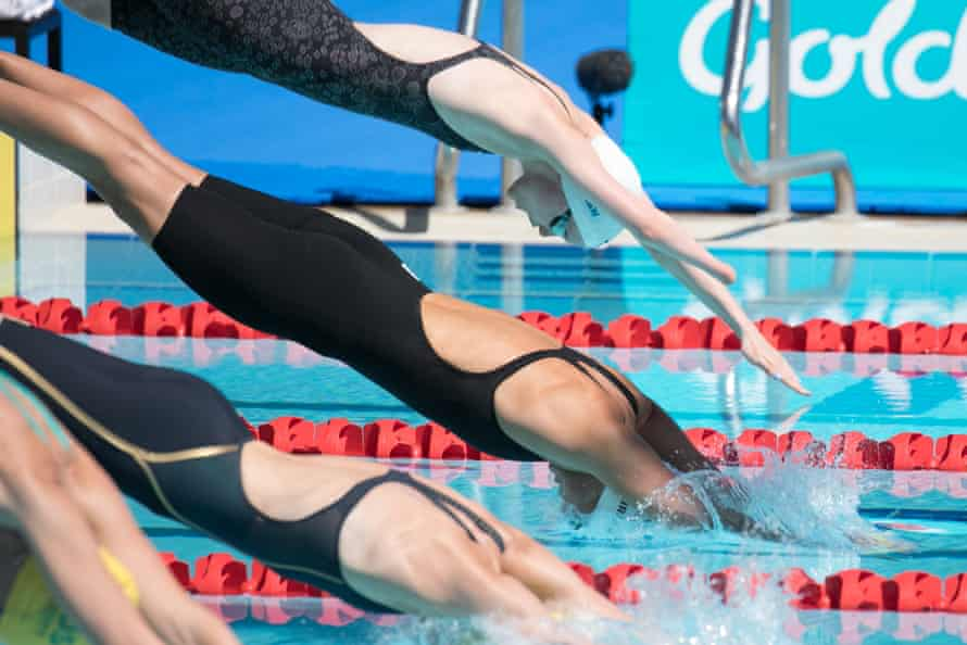 Athletes compete in the women's SB8 100m breaststroke