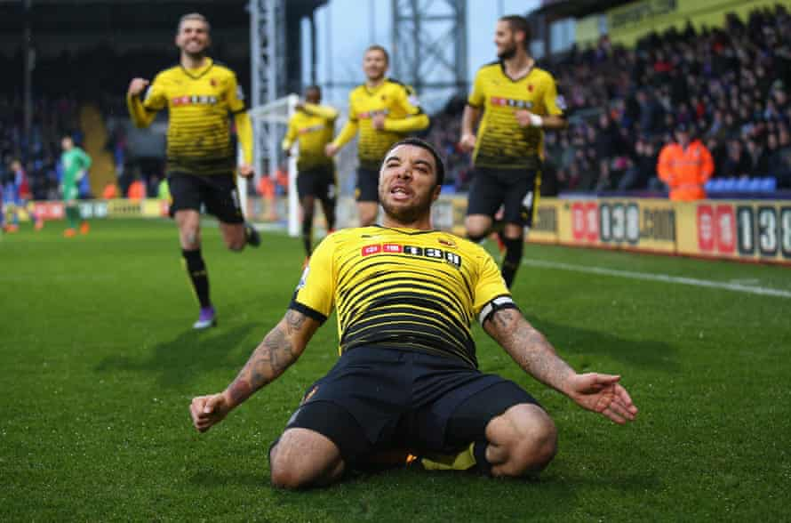 Watford's Troy Deeney celebrates scoring his team's second goal against Crystal Palace in February 2016.