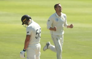 Stokes trudges back to the pavilion as Nortje celebrates his wicket.