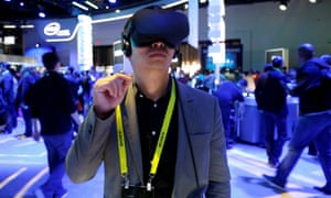 Summer Tan of China tries out the Oculus Rift virtual reality headset during CES in Las Vegas, Nevada on 5 January 2017.
