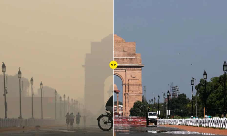 India Gate war memorial on October 17, 2019 and April 8 2020