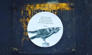 Lines written by Manoj Pandey and stuck on a metal box in Koramangala, Bangalore.