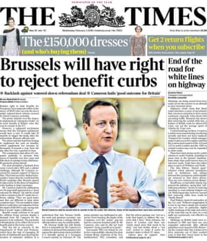 The Times front page - 3 February 2016