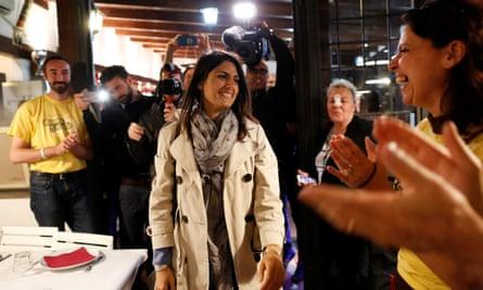 Virginia Raggi arrives at a fund-raising event in Rome.