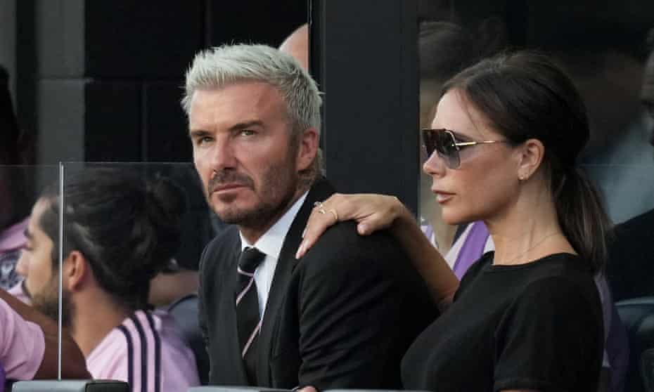 David Beckham, owner of Inter Miami CF, and his wife Victoria Beckham watch a match at DRV PNK Stadium in Fort Lauderdale, Florida.