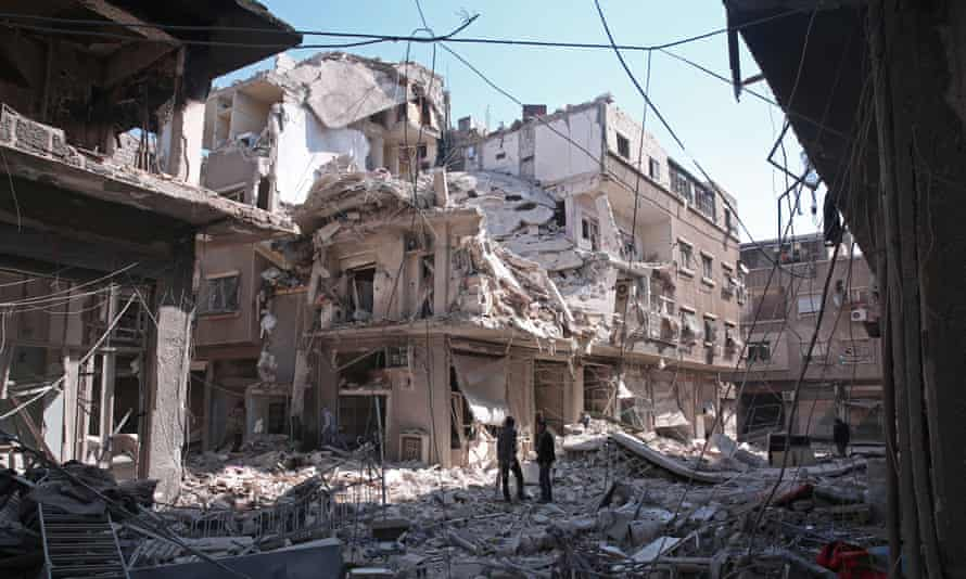 The opposition area of Qaboun in Damascus after an airstrike in 2017.