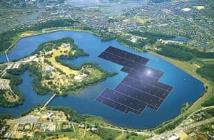 Artist's impression of Kyocera's Yamakura dam power plant, which aims to be the world's largest floating solar power plant.