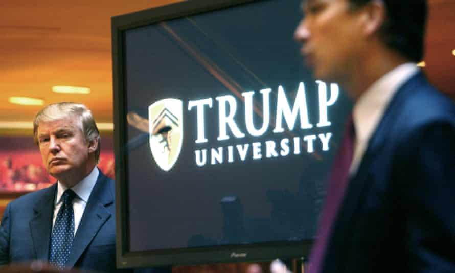 Trump announces the establishment of Trump University on 23 May 2005.