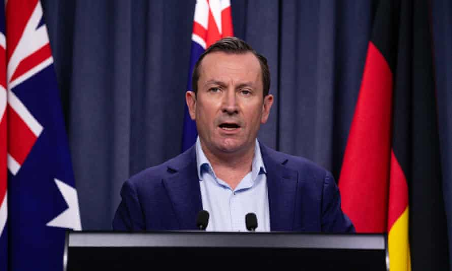 Western Australian premier Mark McGowan at a Covid briefing in Perth on Saturday