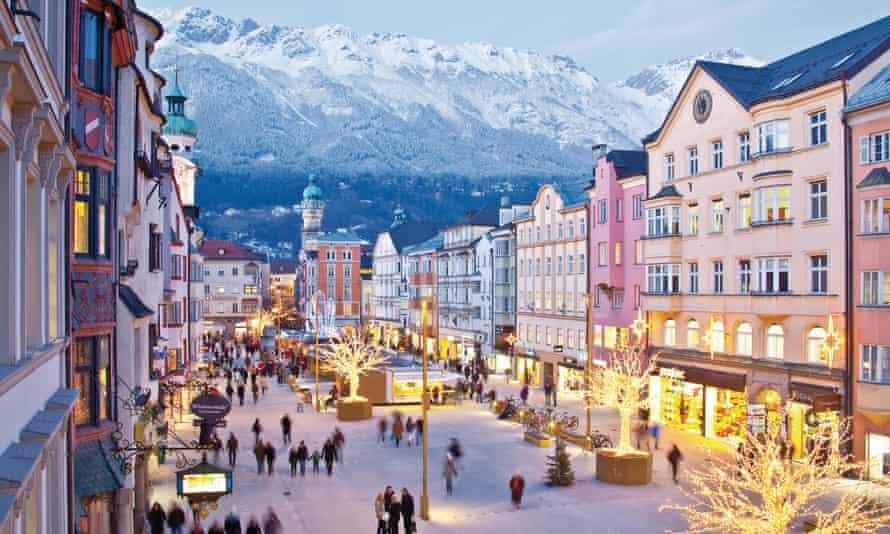 Innsbruck's Rathausplatz, with the Nordkette mountain range above
