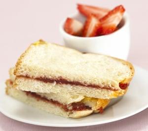 A strawberry jam sandwich