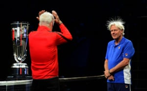 Team captains John McEnroe and Bjorn Borg face off at the opening ceremony of the Laver Cup tournament