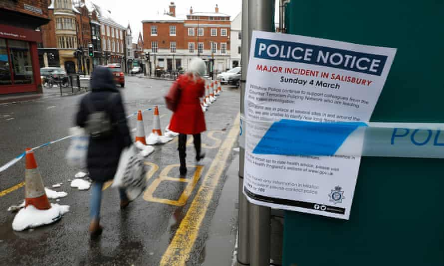 A police notice on boards surrounding a restaurant in Salisbury visited by former Russian spy Sergei Skripal and his daughter before their collapse on 4 March.