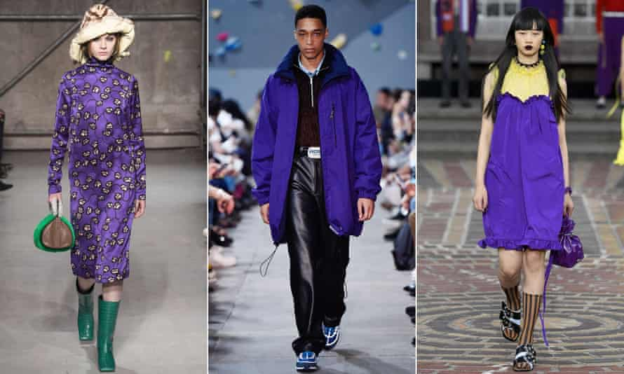 Ultra-violet on the catwalk at (L to R) Marni, Martine Rose and Kenzo.