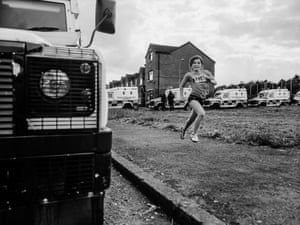 Carrick Hill: Rachel running past police vehicles on Stanhope Street, 2017