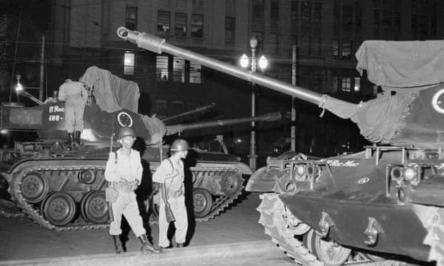 Tanks on the streets in Rio in 1964, The dictatorship that seized power killed hundreds and tortured thousands between 1964 and 1985.