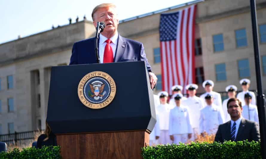 Donald Trump speaks in front of the Pentagon on 11 September 2019.