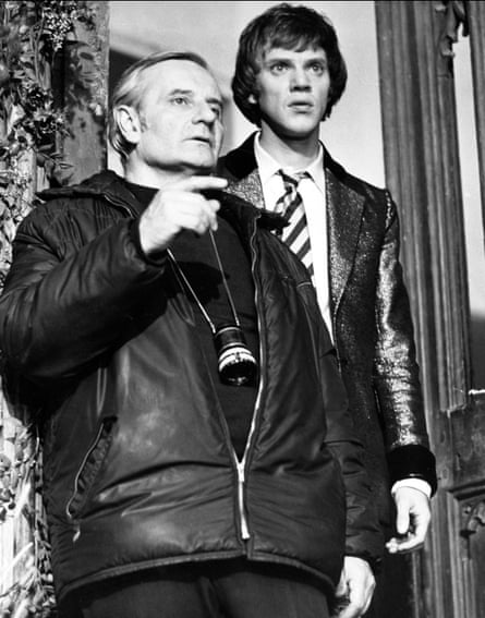 Lindsay Anderson, left, and Malcolm McDowell on the set of the film O Lucky Man!, 1973.