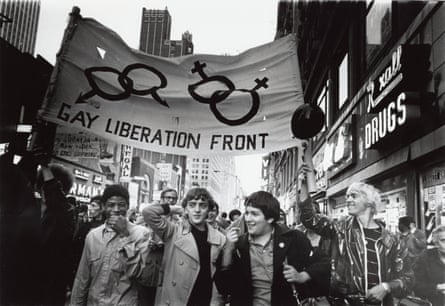 The Gay Liberation Front marches in Times Square, 1969.