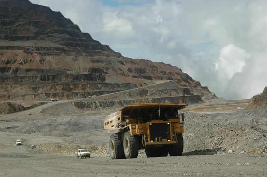 A giant mining truck working at the Ok Tedi mine in 2006