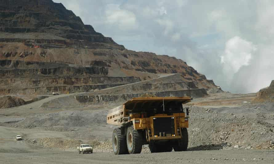 A giant mining truck working at the Ok Tedi mine in Papua New Guinea's Western Province, March 2006