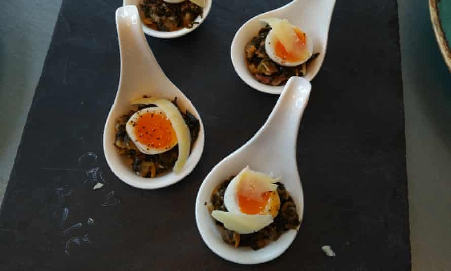 Cockles and laverbread, with quail egg, by Christos Georgakis