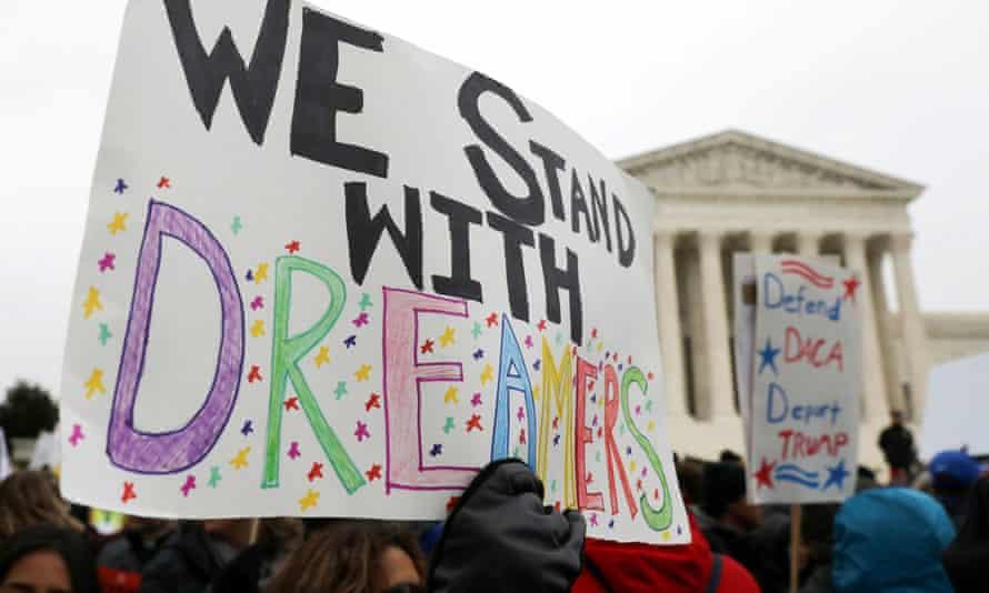 Demonstrators rally outside the US Supreme Court in Washington.