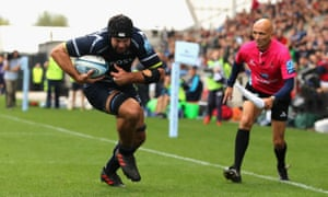 Josh Beaumont prepares to go to ground for Sale's opening try in their win against Worcester.