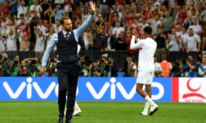 Gareth Southgate, the England manager, waves to supporters following his side's defeat to Croatia