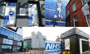 Clockwise from top left: Brighton have offered free tickets to key workers; Everton are supporting vulnerable locals; Watford have made facilities available to the NHS; and Gary Neville and Ryan Giggs have offered NHS workers free hotel rooms.