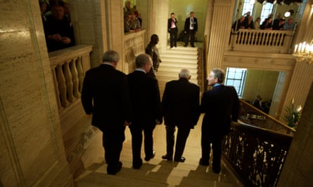 (right to left) Tony Blair, former Northern Irish first minister Ian Paisley, former deputy first minister Martin McGuinness and former Irish PM Bertie Ahern at Stormont.