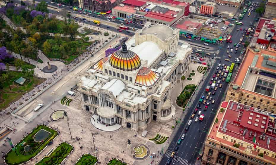 The view from Mirador Torre Latino, Mexico City, on to the Palacio de Bellas Artes.