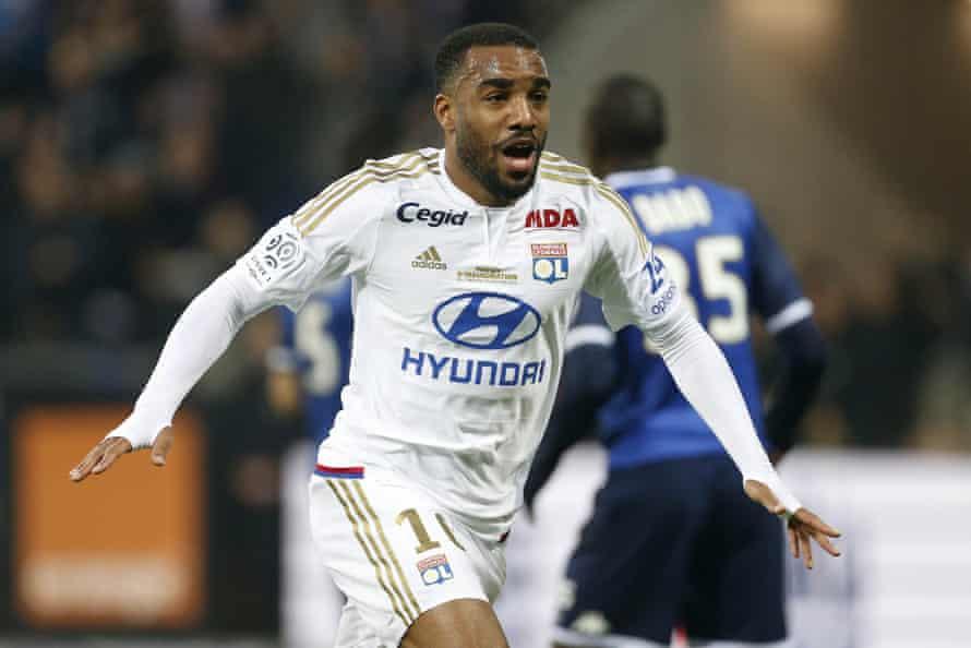 Lyon's Alexandre Lacazette celebrates his goal against Troyes.