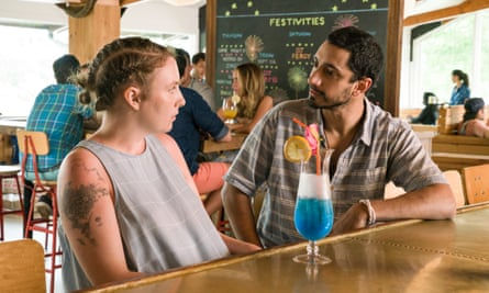Racial cocktail: Lena Dunham and Riz Ahmed in Girls.