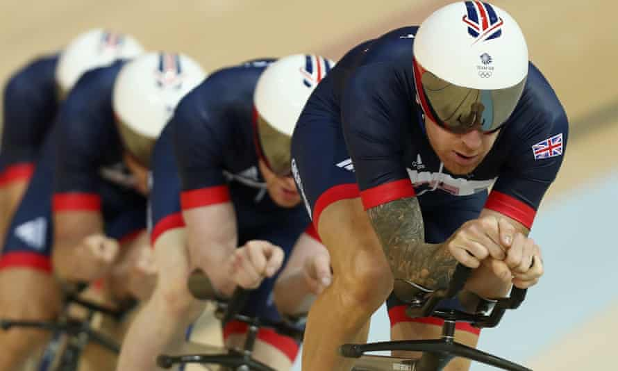Sir Bradley Wiggins leads the GB team pursuit riders during training at the Rio Olympic Velodrome.